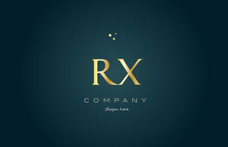 luxo: rx rx dourado dourado produto de luxo metal alfabeto met Ilustração