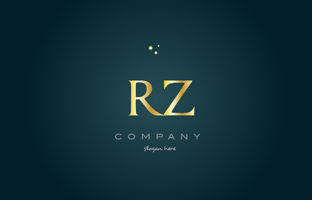 rz r z gold golden luxury product metal metallic alphabet company letter logo design vector icon template green background