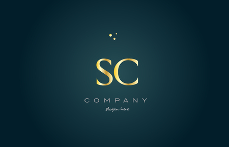 sc s c  gold golden luxury product metal metallic alphabet company letter logo design vector icon template green background