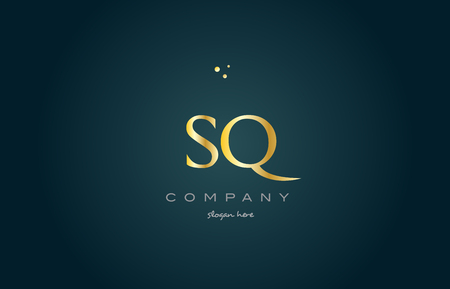 sq: sq s q  gold golden luxury product metal metallic alphabet company letter logo design vector icon template green background
