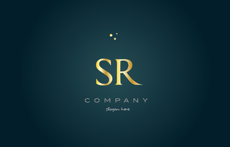 sr s r  gold golden luxury product metal metallic alphabet company letter logo design vector icon template green background Ilustrace