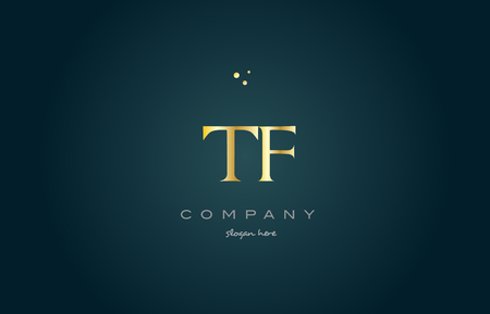 luxo: tf t f  gold golden luxury product metal metallic alphabet company letter logo design vector icon template green background