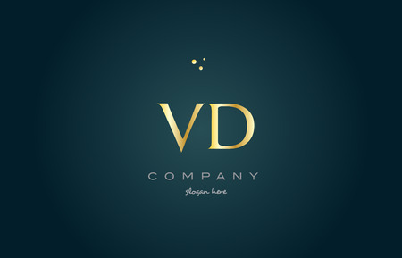 vd v d gold golden luxury product metal metallic alphabet company letter logo design vector icon template green background
