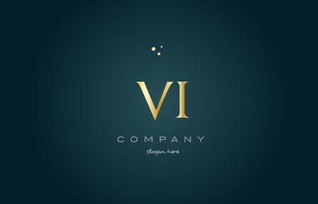 vi v i gold golden luxury product metal metallic alphabet company letter logo design vector icon template green background