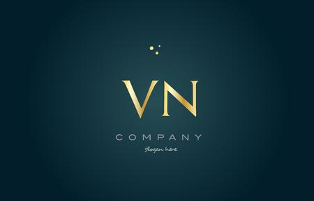 luxo: Vn vn ouro golden luxo produto metal metálico alfabeto empresa carta projeto vetorial ícone modelo verde