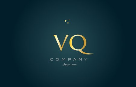 vq v q  gold golden luxury product metal metallic alphabet company letter logo design vector icon template green background