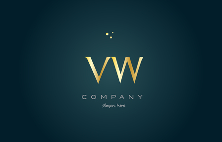 vw: vw v w  gold golden luxury product metal metallic alphabet company letter logo design vector icon template green background