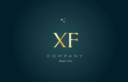 xf x f gold golden luxury product metal metallic alphabet company letter logo design vector icon template green background