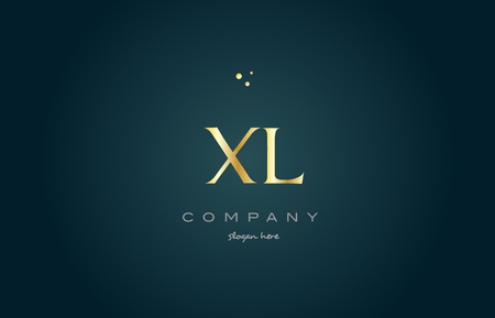 xl x l  gold golden luxury product metal metallic alphabet company letter logo design vector icon template green background Illustration