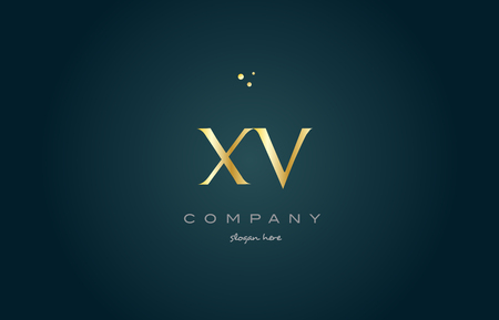 luxo: xv x v  gold golden luxury product metal metallic alphabet company letter logo design vector icon template green background Ilustração