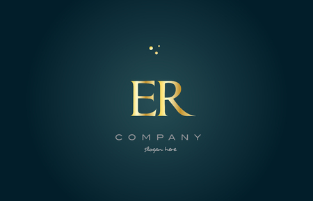 er: er e r  gold golden luxury product metal metallic alphabet company letter logo design vector icon template green background