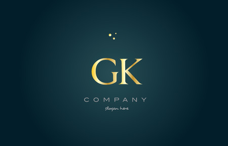 gk g k gold golden luxury product metal metallic alphabet company letter logo design vector icon template green background
