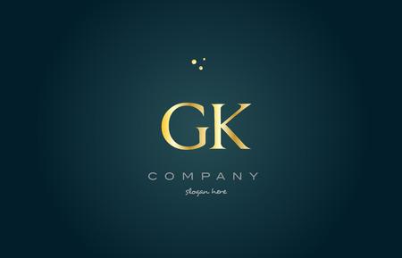 luxo: gk gk ouro metálico produto de luxo carta empresa alfabeto metálico ícone do logotipo do vetor do projeto do molde do fundo verde