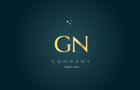gn g n gold golden luxury product metal metallic alphabet company letter logo design vector icon template green background