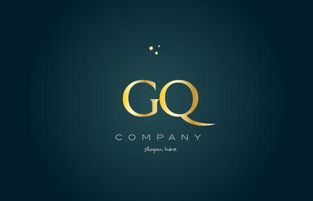 luxo: Gq gq ouro ouro luxo produto metal metálico alfabeto empresa carta logotipo projeto vetorial ícone modelo fundo verde