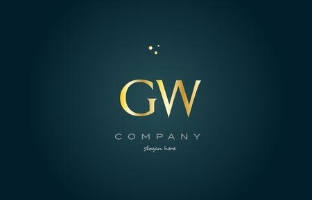 luxo: Gw gw dourado dourado produto de luxo metal alfabeto metálico carta da empresa logo design ícone do vetor modelo fundo verde
