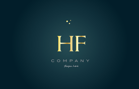hf: hf h f  gold golden luxury product metal metallic alphabet company letter logo design vector icon template green background Illustration