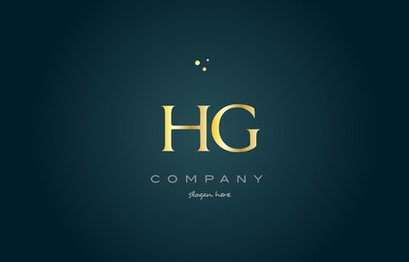 hg h g gold golden luxury product metal metallic alphabet company letter logo design vector icon template green background Logó