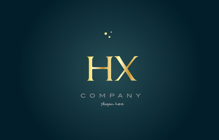 luxo: hx h x  gold golden luxury product metal metallic alphabet company letter logo design vector icon template green background Ilustração
