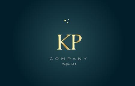 metallic: kp k p  gold golden luxury product metal metallic alphabet company letter logo design vector icon template green background