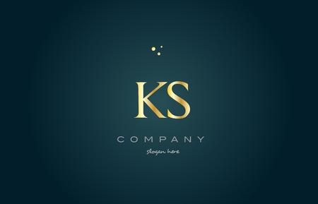 ks k s gold golden luxury product metal metallic alphabet company letter logo design vector icon template green background