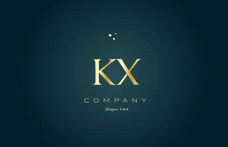 luxo: Kx kx ouro dourado produto de luxo metálico alfabeto metálico letra da empresa logo design ícone do vetor modelo fundo verde