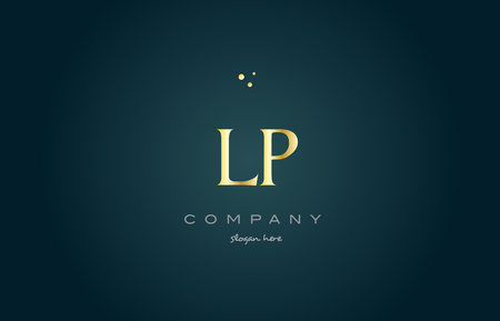lp l p  gold golden luxury product metal metallic alphabet company letter logo design vector icon template green background