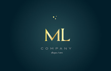 ml: ml m l  gold golden luxury product metal metallic alphabet company letter logo design vector icon template green background