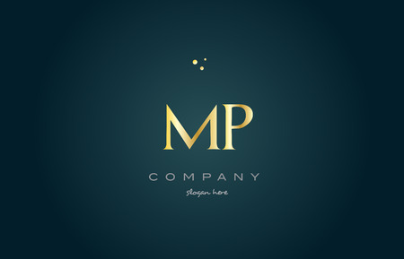 mp m p  gold golden luxury product metal metallic alphabet company letter logo design vector icon template green background