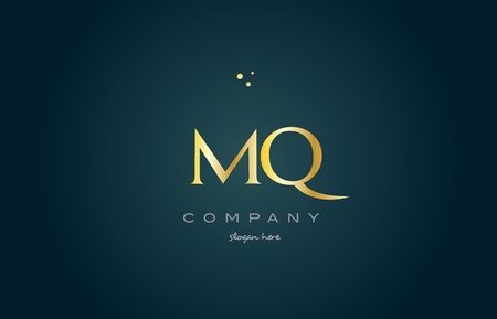 mq m q  gold golden luxury product metal metallic alphabet company letter logo design vector icon template green background Ilustração