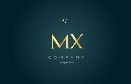 mx: mx m x  gold golden luxury product metal metallic alphabet company letter logo design vector icon template green background Illustration
