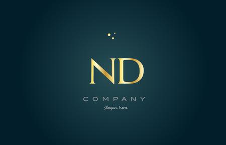 luxo: nd n d  gold golden luxury product metal metallic alphabet company letter logo design vector icon template green background Ilustração