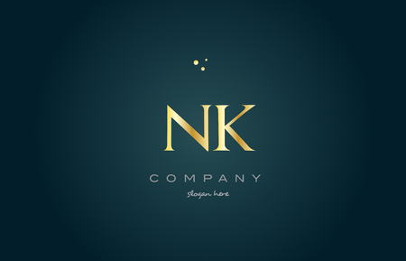 nk n k  gold golden luxury product metal metallic alphabet company letter logo design vector icon template green background