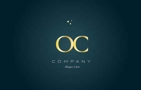 oc: oc o c  gold golden luxury product metal metallic alphabet company letter logo design vector icon template green background Illustration