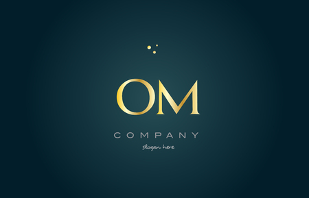 om o m  gold golden luxury product metal metallic alphabet company letter logo design vector icon template green background