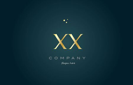 xx x x  gold golden luxury product metal metallic alphabet company letter logo design vector icon template green background