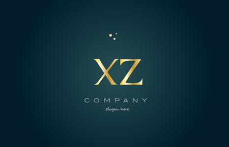 xz x z gold golden luxury product metal metallic alphabet company letter logo design vector icon template green background