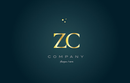 zc z c gold golden luxury product metal metallic alphabet company letter logo design vector icon template green background