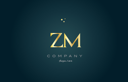 zm z m gold golden luxury product metal metallic alphabet company letter logo design vector icon template green background