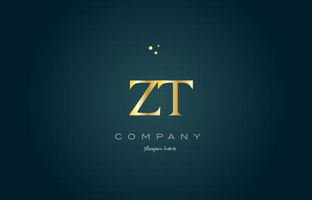 zt zt altın lüks ürün Metalik alfabe şirket mektup logo tasarım vektör simgesi şablonu yeşil arka plan