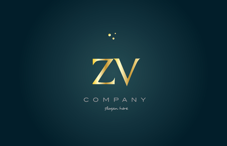 zv z v  gold golden luxury product metal metallic alphabet company letter logo design vector icon template green background