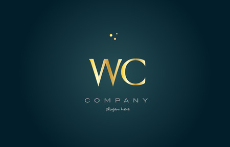 wc w c gold golden luxury product metal metallic alphabet company letter logo design vector icon template green background