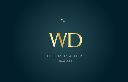 wd w d gold golden luxury product metal metallic alphabet company letter logo design vector icon template green background