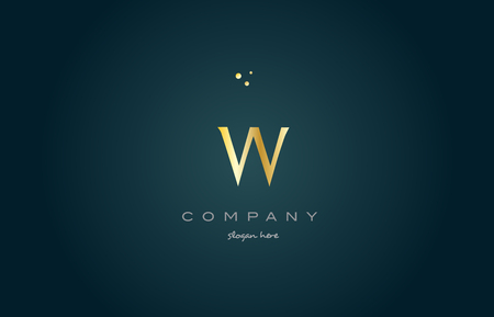 w gold golden luxury product metal metallic alphabet company letter logo design vector icon template green background