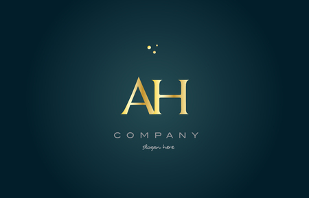 ah a h  gold golden luxury product metal metallic alphabet company letter logo design vector icon template green background Illustration