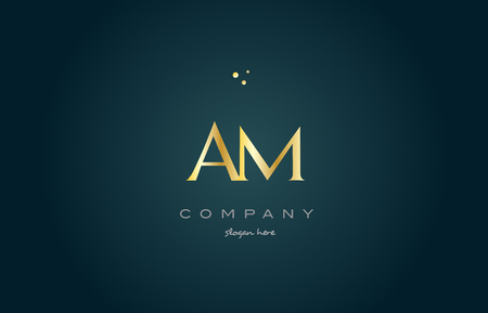 am a m gold golden luxury product metal metallic alphabet company letter logo design vector icon template green background