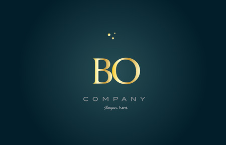 bo b o gold golden luxury product metal metallic alphabet company letter logo design vector icon template green background
