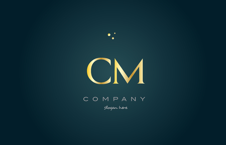 cm c m  gold golden luxury product metal metallic alphabet company letter logo design vector icon template green background Illustration