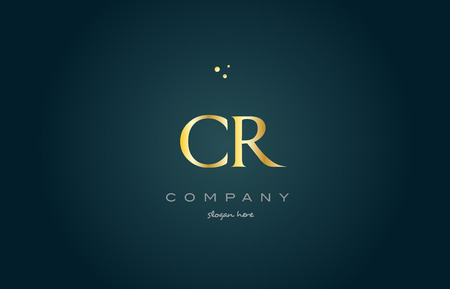 cr c r  gold golden luxury product metal metallic alphabet company letter logo design vector icon template green background