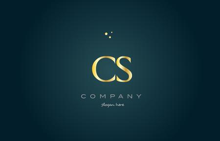 luxo: Cs cs ouro dourado produto de luxo metal metálico alfabeto empresa carta logo design vetorial ícone modelo fundo verde Ilustração